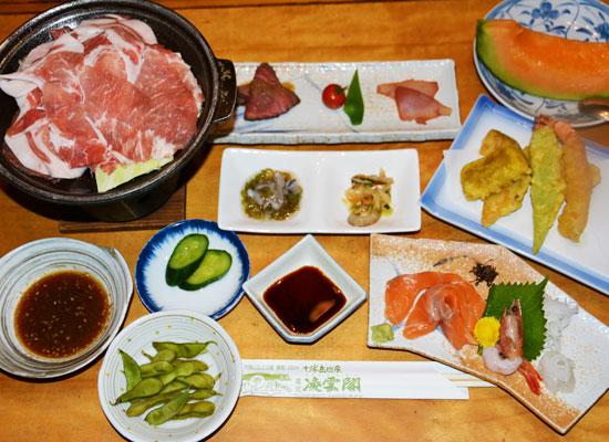 北海道・十勝岳温泉(夕食の一例)