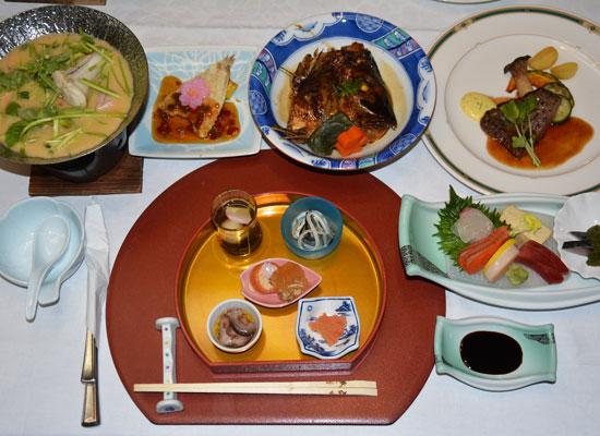 油谷湾温泉・ホテル楊貴館(夕食一例)