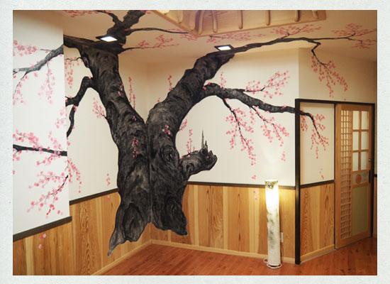 高湯温泉・吾妻屋/内湯の桜の壁画