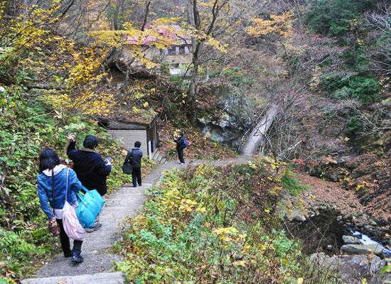 大平温泉・滝見屋/駐車場から歩く道