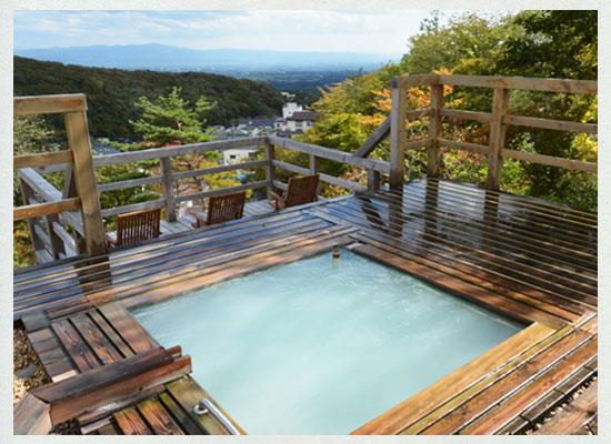 那須湯本温泉 松川屋 那須高原ホテル/男湯の露天風呂
