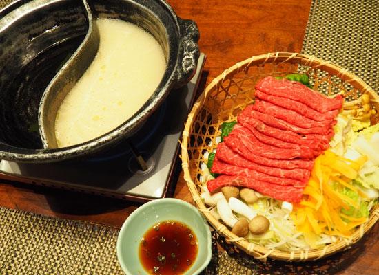 大丸温泉・大丸温泉旅館/夕食(源泉しゃぶしゃぶ)