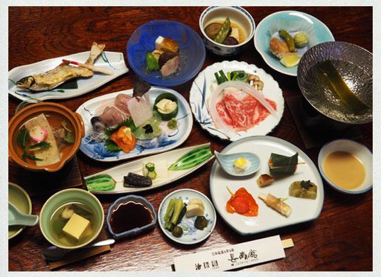 法師温泉 長寿館/夕食の一例