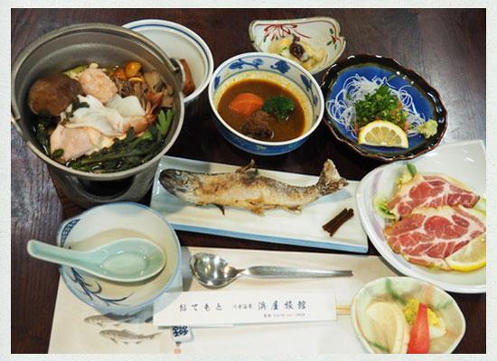 川古温泉・浜屋旅館/観光客用の夕食の一例